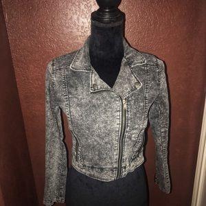 H&M moto jacket size 2 acid wash black